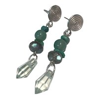 Natural Turquoise, Aventurine, Labradorite, Green Amethyst Sterling Earrings