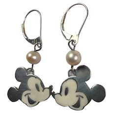 Sterling Silver, Enamel Cultured Pearl Mickey Mouse Earrings