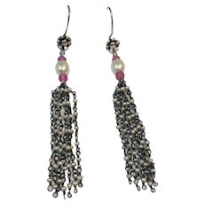 Cultured Pearl, Natural Pink Sapphires, Sterling silver Long Tassle earrings