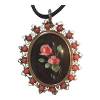 Antique 800 Silver Hand Painted Rose pendant/brooch