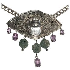 Etruscan Revival Green Man  Rose de France Amethysts and Moss Agate Necklace