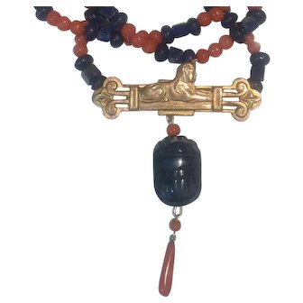 Egyptian Revival Sphinx Natural Coral and Lapis Necklace