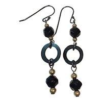 Jet beads, Vulcanite, 14K gold and Sterling earrings