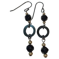 Jet beads, Vulcanite, 14K gold and Sterling earrings