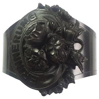 Antique Victorian Mourning Vulcanite cuff/VERY RARE/GERMAN