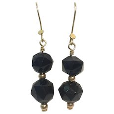 Large Whitby Jet beads 14K Gold and 18K GF earrings