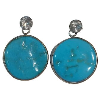 Large Natural Turquoise, Sapphire 14K White Gold earrings: RARE