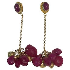 Ruby 18K Gold drop bead earrings