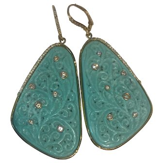 Natural carved Turquoise, 14K gold diamond earrings:RARE