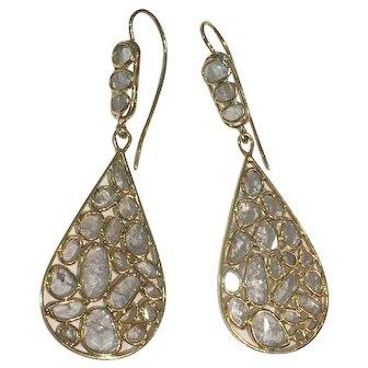 14K Gold Sliced Diamond earrings