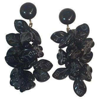 Vintage 1949 Western Germany Glass flower bead earrings