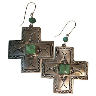 Vintage Native American Sterling Natural Turquoise Earrings
