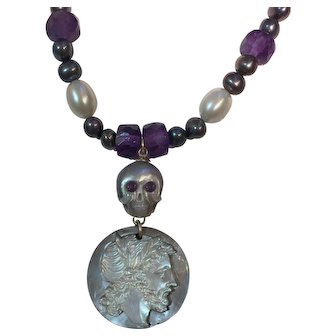 Cultured Pearl Natural Amethyst Rare Carved MOP Cameo