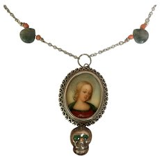 Miniature Portrait, Natural Emeralds, Moss Agate, Coral Skull Necklace