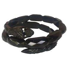 Antique Victorian Whitby Jet Snake bracelet Old Mind Diamond Eyes
