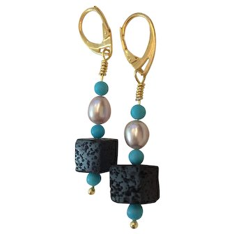 18K GF  Natural Turquoise, AAA Cultured Pearl and Lava bead earrings