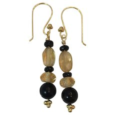 Natural Citrine, Black Tourmaline and Onyx 18K GF earrings