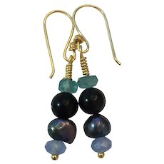 18K GF earrings/Natural Apatite, Onyx, Cultured Peacock Pearls and Chalcedony