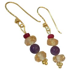 18K GF Natural Citrine, Amethyst, and Ruby Earrings