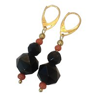 Whitby Jet, Natural Coral, 14K Gold and 18K GF earrings