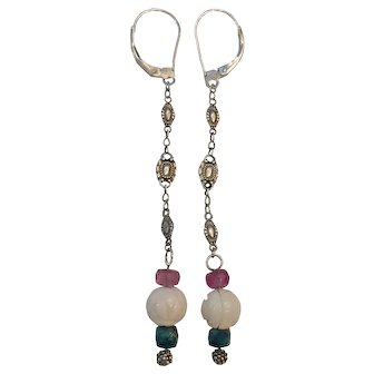 Natural Angel Skin Coral, Pink and Blue Saphire Sterling Earrings