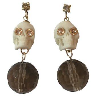 14K Gold, Champagne Diamonds, Skull, Smokey Quartz Earrings