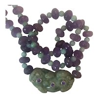 Natural Jade Pixiu, Amethyst, 14 K white gold and Diamond Necklace
