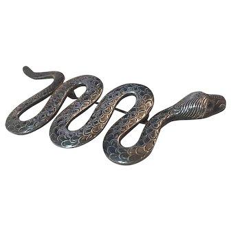Art Deco Sterling Silver Snake Large Brooch