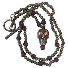 Pyrite Natural Garnet Skull necklace