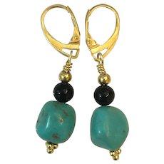 Natural Turquoise, Black Onyx, 14K, 18KGF earrings