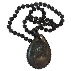 Victorian Vulcanite Cameo Banded Agate Glass bead necklace
