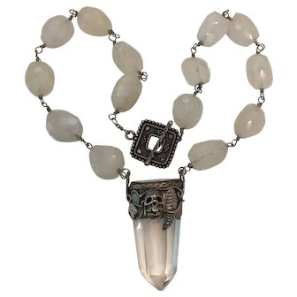 Large Natural Quartz Chrystal, Sterling silver Skull and Natural Moonstone necklace
