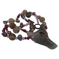 Bloodstone carved wolf Multi Gemstone necklace