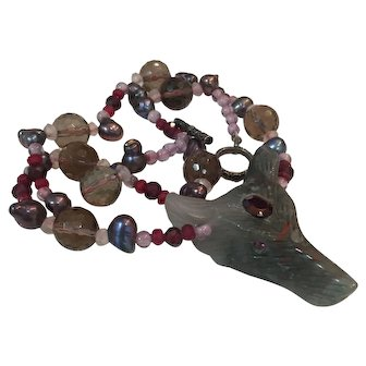 Bloostone carved wolf Multi Gemstone necklace
