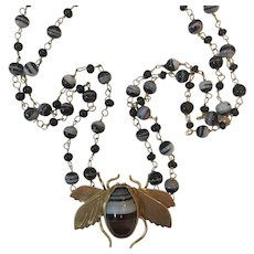 Victorian Natural Banded Agate Bee necklace