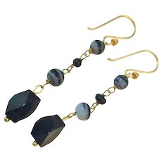 Natural Banded Agate and Whitby Jet 18K GF earrings