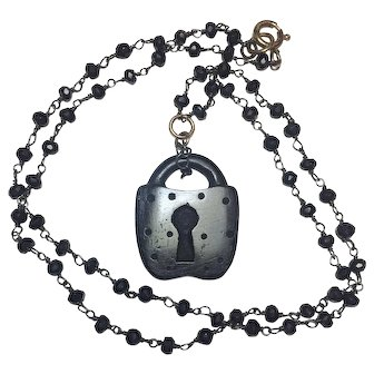 Whitby Jet Carved Lock sterling silver Spinel necklace