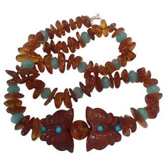 Baltic Amber, Turquoise, Apatite Jasper necklace