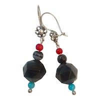 Whitby Jet, Banded Agate, Coral and Turquoise Sterling Earrings