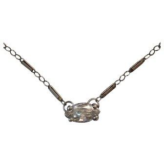 Art Deco 14K White Gold Diamond Platinum necklace/European Fancy Cut