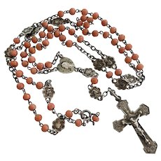 Antique, French, Sterling, petite, natural Coral rosary necklace
