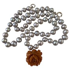 Bakelite Rose and Gray Cultured Pearl Necklace