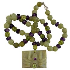 Natural carved Serpentine, Peridot and Amethyst Spider necklace