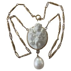 Carved White Meerschaum Angel Cameo, Old Mine Diamond, AAA Cultured Pearl Gold necklace