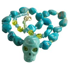 Natural Turquoise Large Skull, Apatite and Peridot necklace