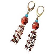 Sponge Coral Skull, Turquoise, Garnet Tassle earrings
