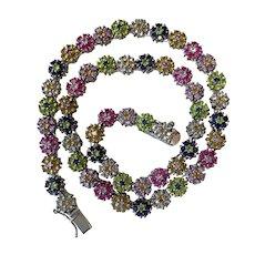 Sterling silver multi-colored gemstone, open back collar