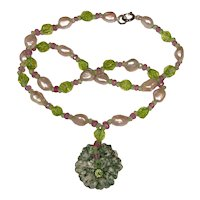 Maw-sit-sit Jade, Peridot, Pink Sapphire, Blush Cultured Pearl Necklace