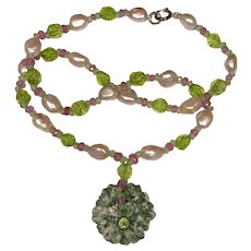 Maw-sit-sit Jade, Peridot, Pink Sapphire, Blush Cultured Pearl Necklace