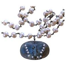 Natural Labradorite Cultured Pearl  necklace